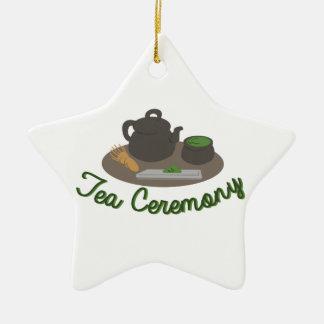 Té japonés de la ceremonia de té adorno navideño de cerámica en forma de estrella