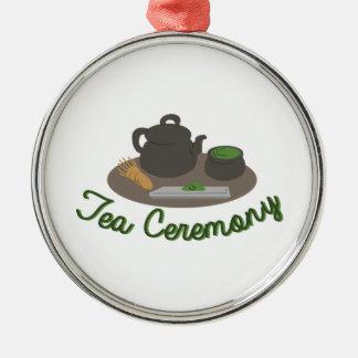 Té japonés de la ceremonia de té adorno navideño redondo de metal