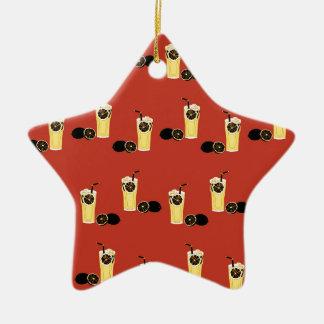 Té negro enojado del limón adorno navideño de cerámica en forma de estrella