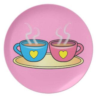 Té para dos en placa rosada platos para fiestas