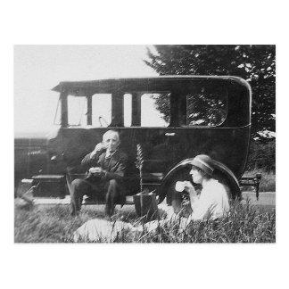 Té para dos viejas imágenes negras y blancas - postal