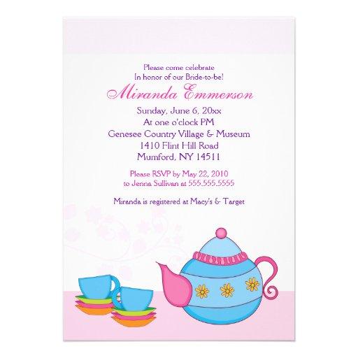 Té para la ducha nupcial 5x7 de dos fiestas del té invitaciones personales