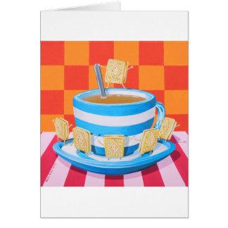 Té poner crema de las natillas tarjeta de felicitación