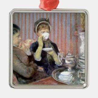 Té por el ornamento de Mary Cassatt Adorno Navideño Cuadrado De Metal