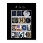 te quiero a la luna y a la parte posterior postal
