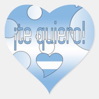 ¡Te Quiero! Argentina Flag Colors Pop Art Heart Sticker