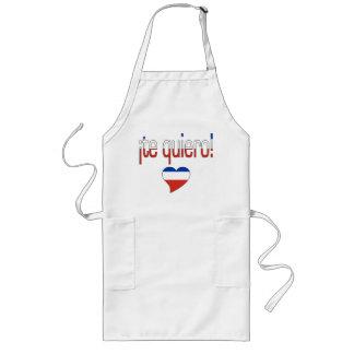 ¡Te Quiero! Chile Flag Colors Long Apron