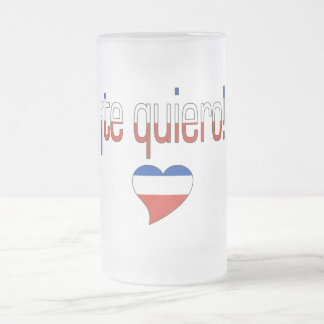 ¡Te Quiero! Chile Flag Colors 16 Oz Frosted Glass Beer Mug