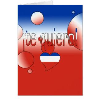 ¡Te Quiero! Chile Flag Colors Pop Art Card