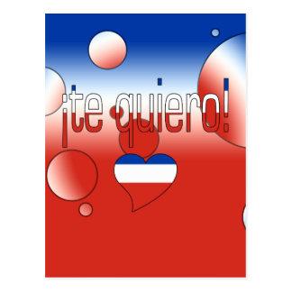 ¡Te Quiero! Chile Flag Colors Pop Art Postcard