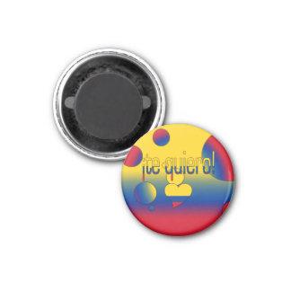¡Te Quiero! Colombia Flag Colors Pop Art 1 Inch Round Magnet