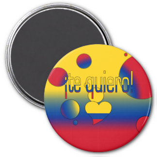 ¡Te Quiero! Colombia Flag Colors Pop Art 3 Inch Round Magnet