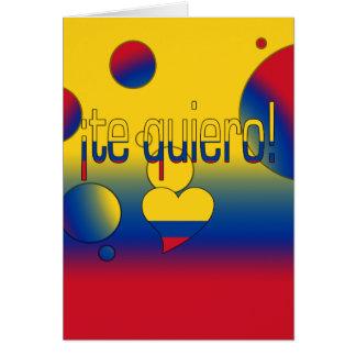 ¡Te Quiero! Colombia Flag Colors Pop Art Card