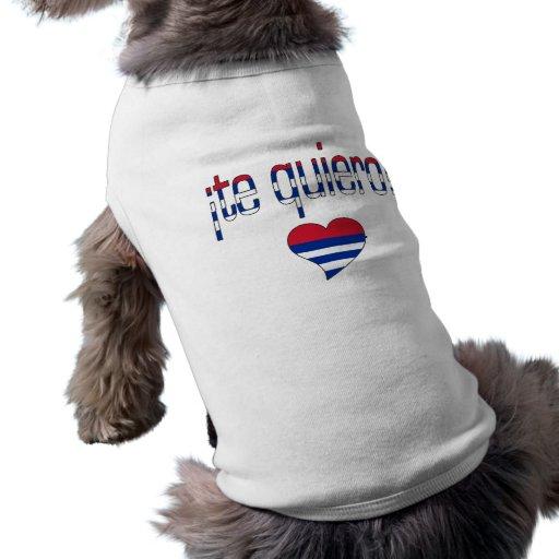 ¡¡Te Quiero! Colores de la bandera de Cuba Playera Sin Mangas Para Perro