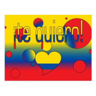 ¡Te Quiero! Ecuador Flag Colors Pop Art Postcard