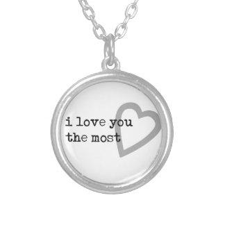 te quiero el corazón más lindo collar plateado