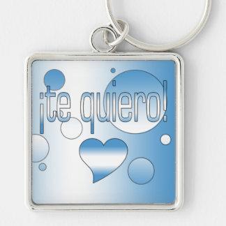 ¡Te Quiero! Guatemala Flag Colors Pop Art Silver-Colored Square Keychain