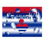 ¡¡Te Quiero! La bandera de Cuba colorea arte pop Postal