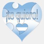 ¡¡Te Quiero! La bandera de la Argentina colorea Pegatina En Forma De Corazón