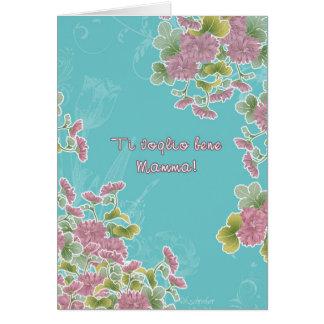 ¡te quiero mamá, el día de madre feliz! en tarjeta de felicitación