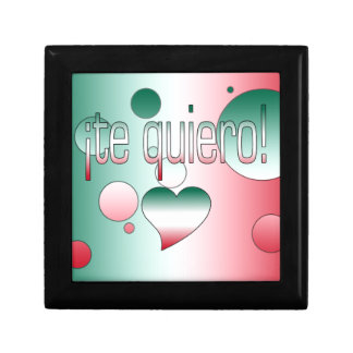 ¡Te Quiero! Mexico Flag Colors Pop Art Trinket Boxes