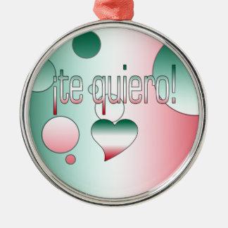¡Te Quiero! Mexico Flag Colors Pop Art Christmas Tree Ornaments