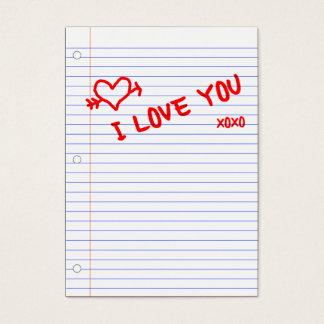 te quiero: papel del cuaderno tarjeta de negocios