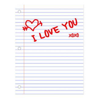 te quiero: papel del cuaderno tarjetas postales