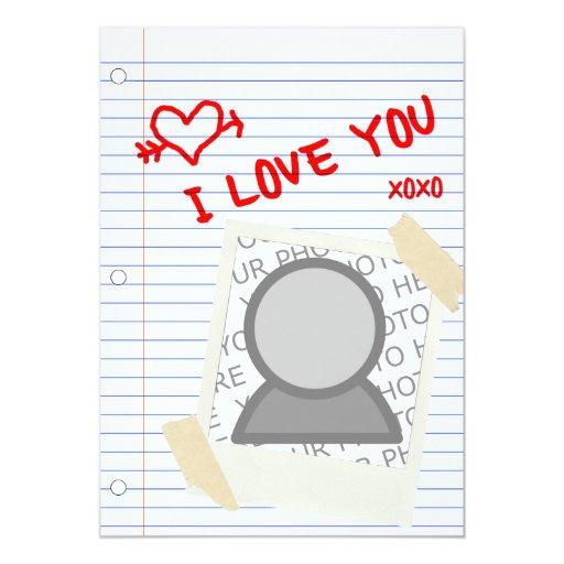 """te quiero: papel polaroid invitación 5"""" x 7"""""""