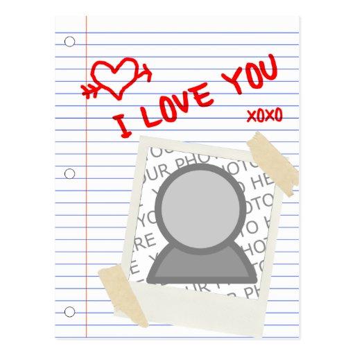 te quiero: papel polaroid tarjetas postales
