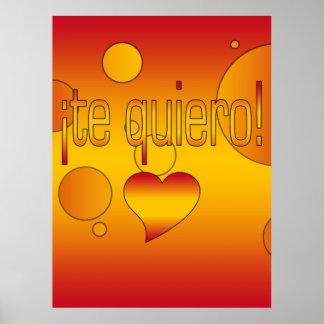 ¡Te Quiero! Spain Flag Colors Pop Art Poster