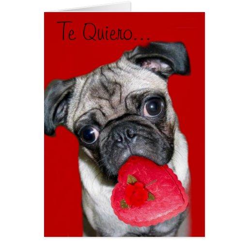 Te Quiero Tarjeta de Perro Pug | Zazzle