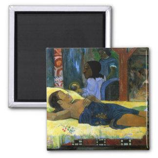 Te Tamari No Atua (Nativity) Tahiti art by Gauguin 2 Inch Square Magnet