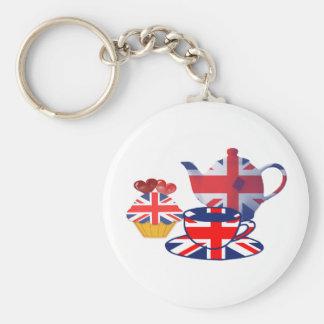 Té-tiempo inglés, regalos del arte de Union Jack Llavero Redondo Tipo Pin