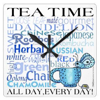¡Té Tiempo-Todo día, cada día! Reloj Cuadrado