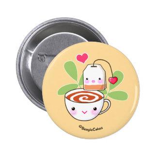 Té y bolsita de té lindos PinbackButton Pin Redondo De 2 Pulgadas