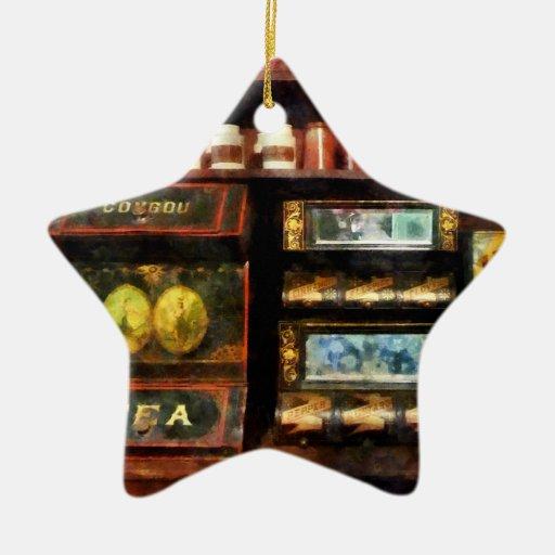 Té y café adorno navideño de cerámica en forma de estrella