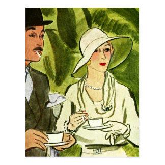Té y cigarrillos en el bosque tarjetas postales