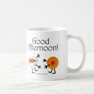 ¡Té y galleta - buena tarde! Taza Básica Blanca