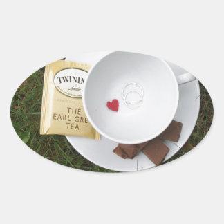 Té y romance pegatinas de ovaladas