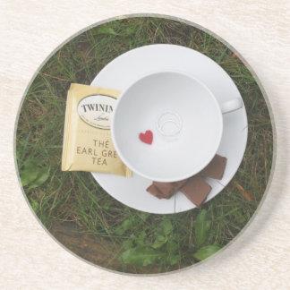 Té y romance posavasos personalizados