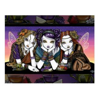 Tea 4 Three Eccentric KiKi Party Fairies Postcard