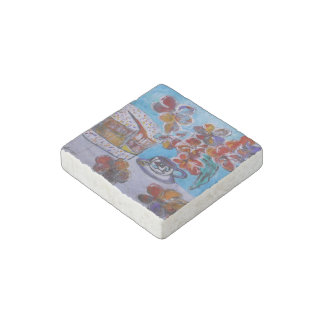 Tea and Cake Marble Stone Magnets, Individual Stone Magnet