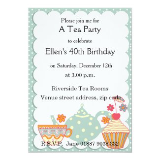"Tea and Cakes Party Invitation 5"" X 7"" Invitation Card"