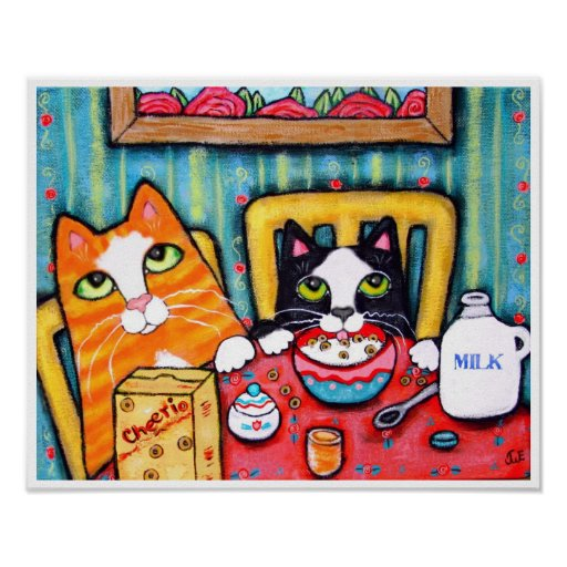Tea and Cereal Cats Poster