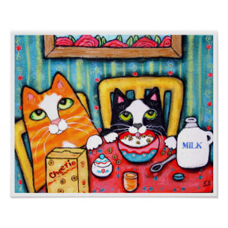 Tea and Cereal Cats Posters