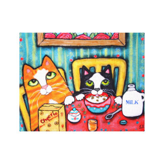 Tea and Cereal Cats Wrapped Canvas Canvas Print