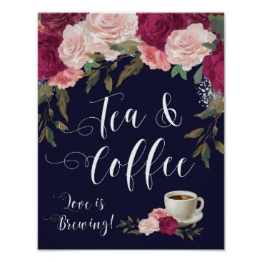 Coffee Themed tea and coffee sign wedding poster navy