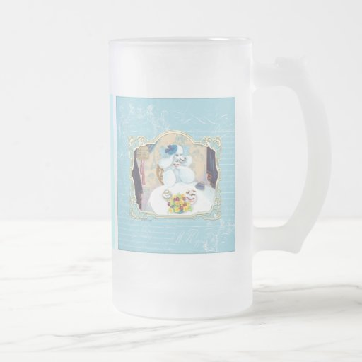 Tea and Crumpets White Poodle Tea Party 16 Oz Frosted Glass Beer Mug