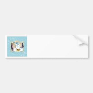 Tea and Crumpets White Poodle Tea Party Car Bumper Sticker